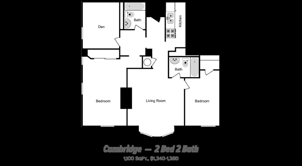 floor plan of 2 bed 2 bath apartment