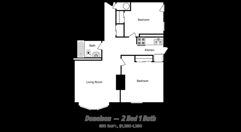 floor plan of 2 bed 1 bath apartment