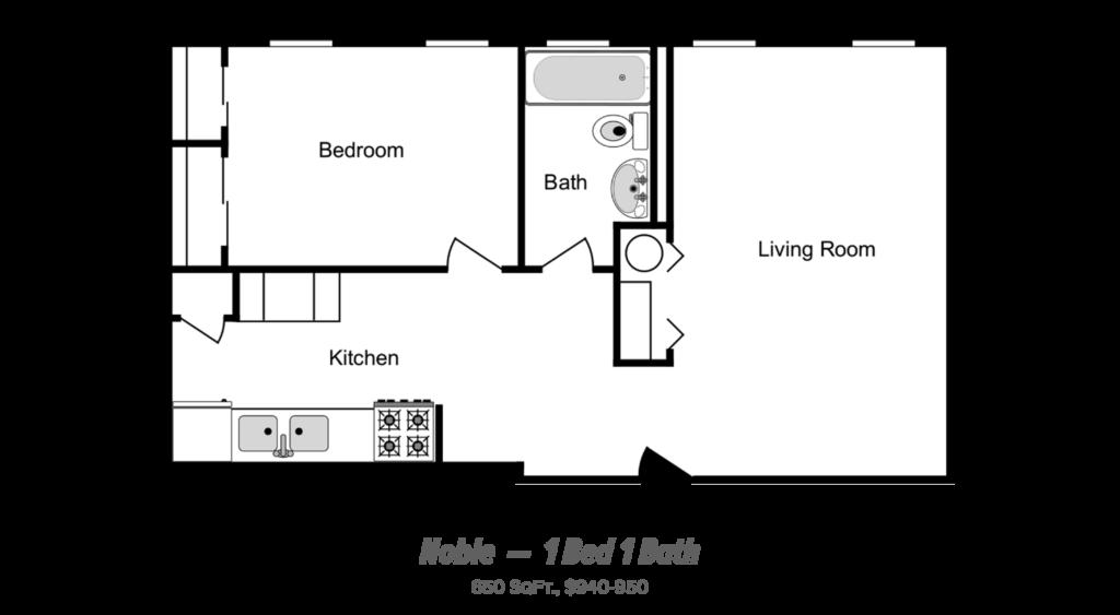 floor plan of 1 bed 1 bath apartment