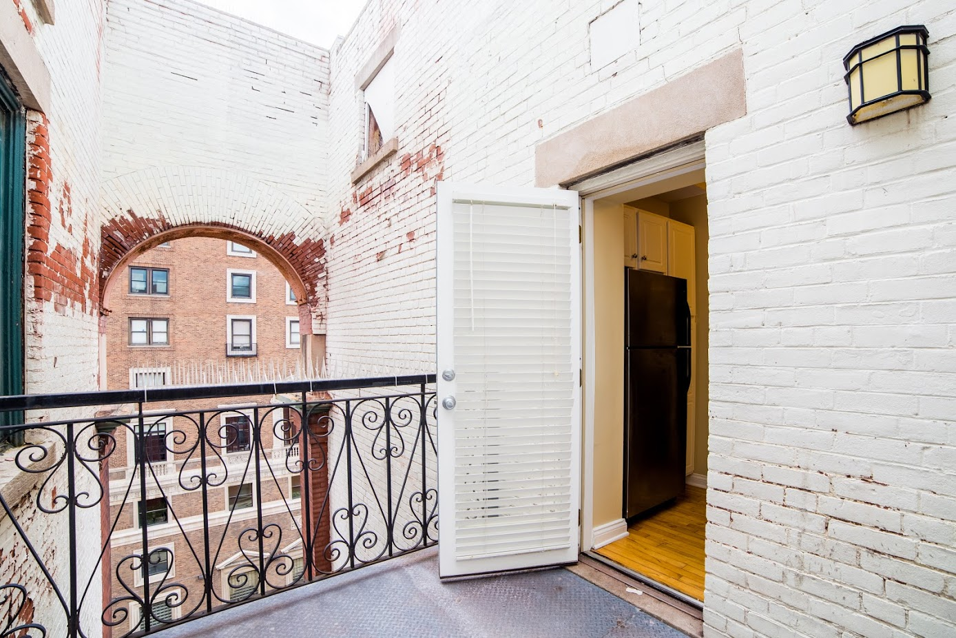 weathered white-washed bricks in outdoor terrace